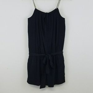 Express Silky Black Romper with Chain Straps